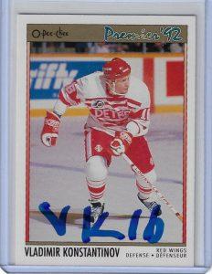 Vladimir Konstantinov 1991 O-Pee-Chee Premier 118 Autographed Card