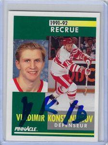 Vladimir Konstantinov 1991 Pinnacle Canadian 311 Autographed Card