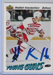 Vladimir Konstantinov 1991 Upper Deck Base Set 594 Autographed Card