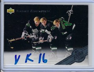 Vladimir Konstantinov 1992 Upper Deck All-Rookie Team 5 Autographed Card