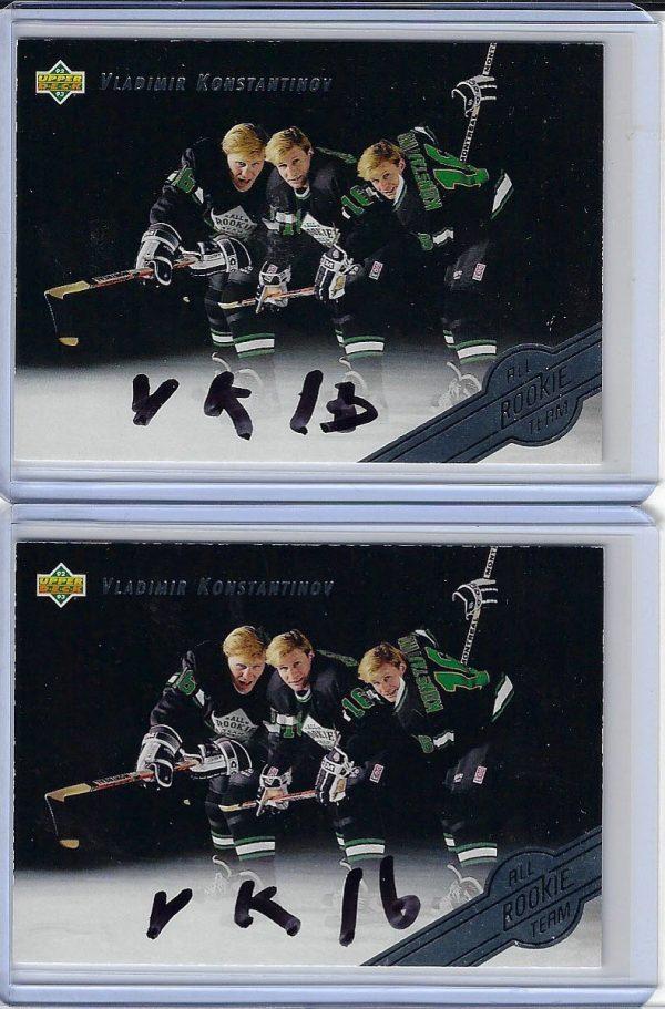 Vladimir Konstantinov 1992 Upper Deck All-Rookie Team 5 Autographed Card in Black Sharpie